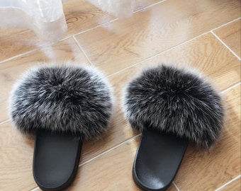 79a4297a79e Fox pom pom shoes frost black gray puffs Hollywood female star s sandals  slides slippers Fur Women Shoes