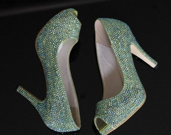 aafed543194 Crystal Women Shoes Mint Green Crystal Peep Toe Heels Custom Rhinestone  Lady Shoes Open Toe Pumps Made To order Handmade Shoes Light Green