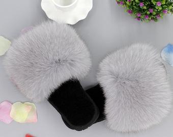 14e216129f58 Fluffy Sandals Light Gray Real Furry puffs Flip Flops Hollywood female  star s sandals slides slippers Fur Women Shoes Light Grey fox fur