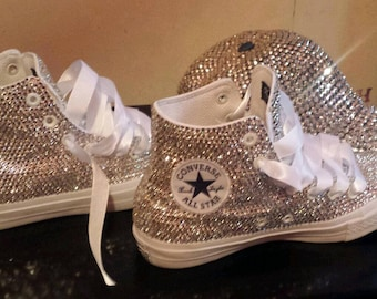 5900059d160b9d Silver Clean Crystal Sneaker High Top Converse Sparkly Shiny Handmade to  Order Shoes Customize Rhinestone Crystal Sneakers