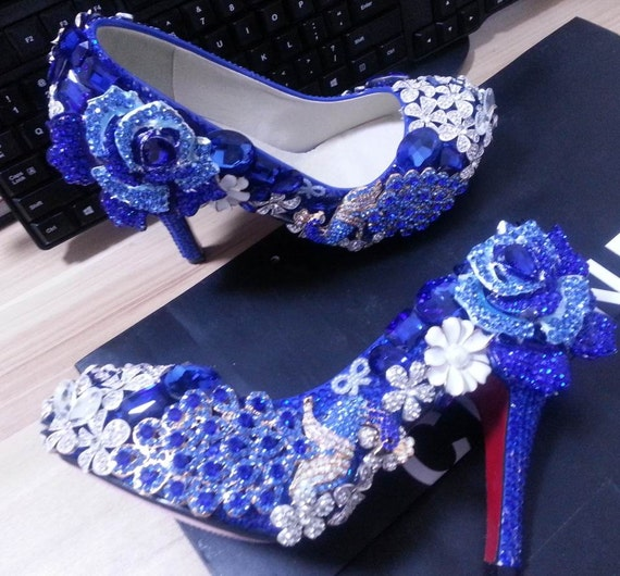 Chaussures bleues de de de luxe à talons Rose Peacock fleurs éclat brillant chaussures de danse Party personnaliser pompes faits sur commande | D'arrivée Nouvelle Arrivée  f61743