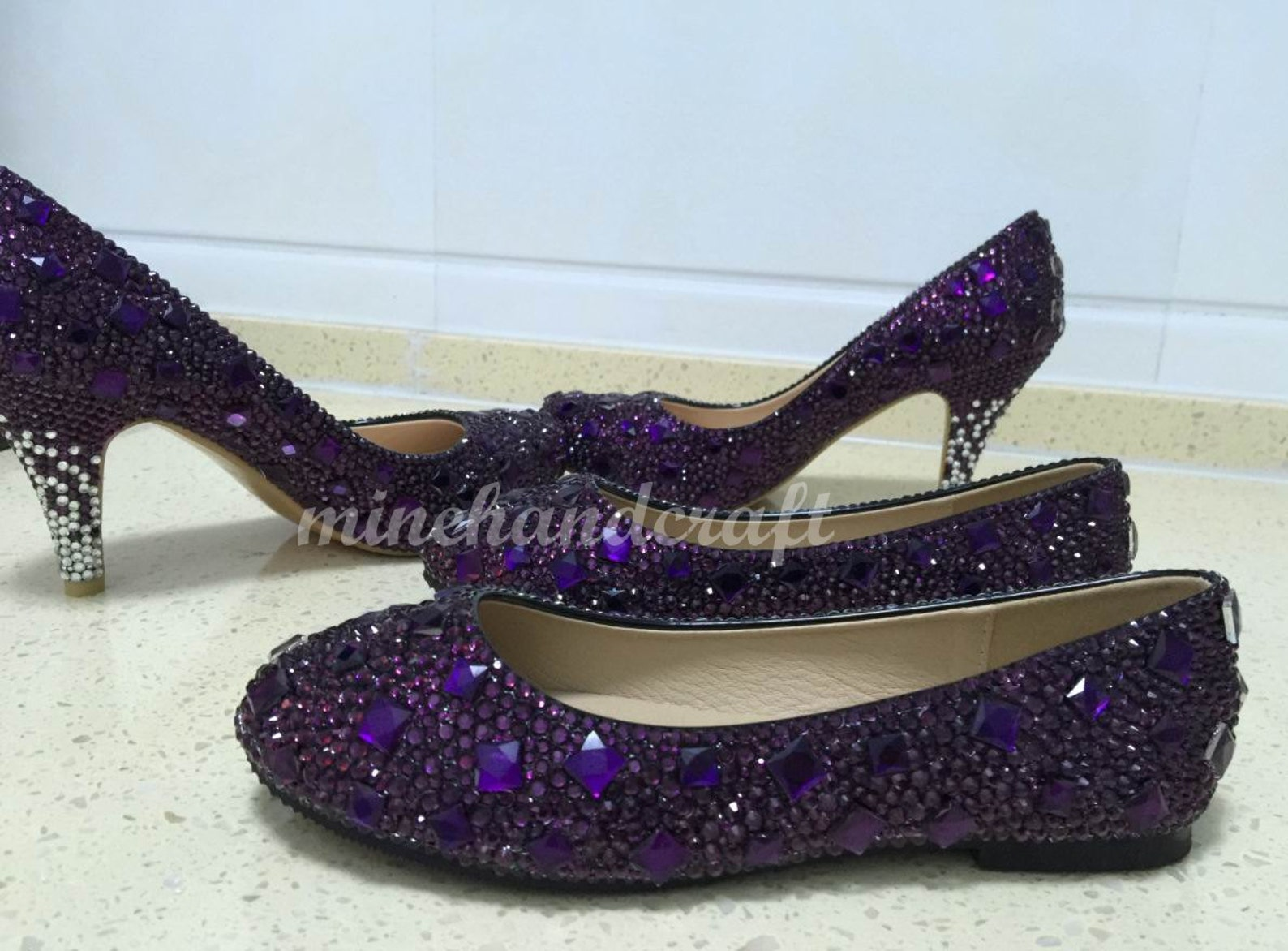 purple crystal slippers handmade to order customize prom ballet flats shoes high heels
