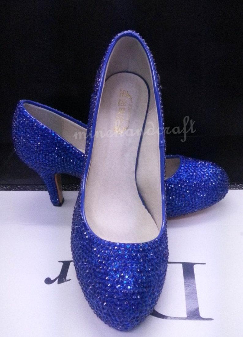 7aeb4d6af4a Kitten Heels Women Pumps High low Heels Blue Crystal