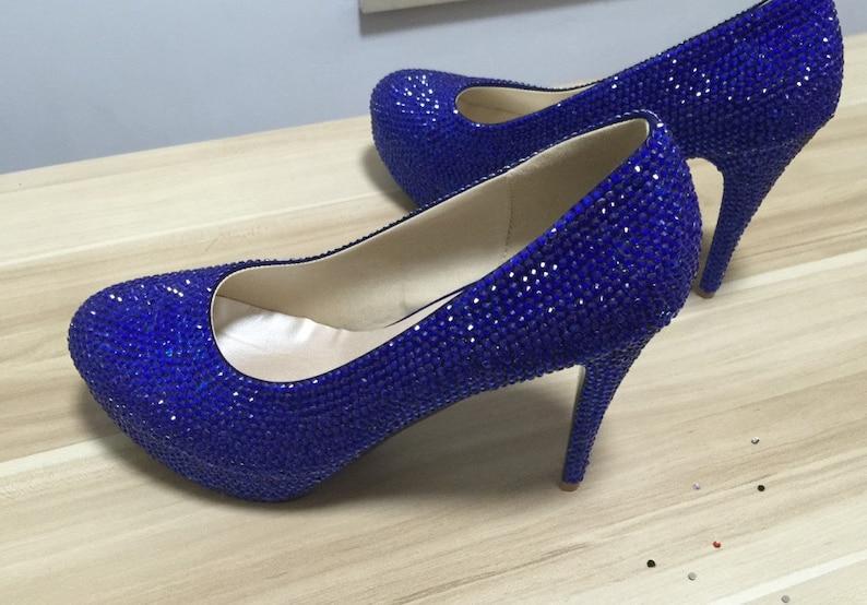 23f2dd5ba95 Blue Shoes Women Pumps Heels Blue Crystal Rhinestone Prom