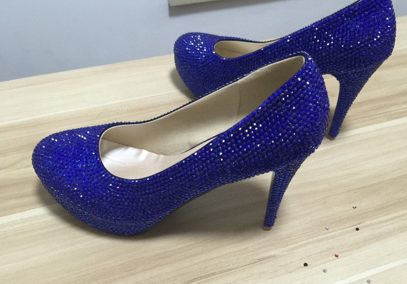 5746e3cc0e8 Blue Shoes Women Pumps Heels Blue Crystal Rhinestone Prom