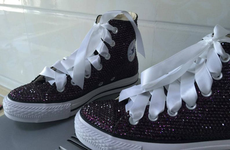 ec2f1fafb460 Dark Purple Crystal converse Shoes Customize Personalized