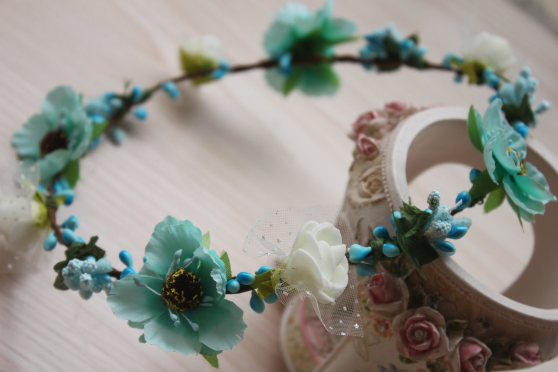 Teal Flower Crown Bun Crown Turquoise Flower Headband Etsy