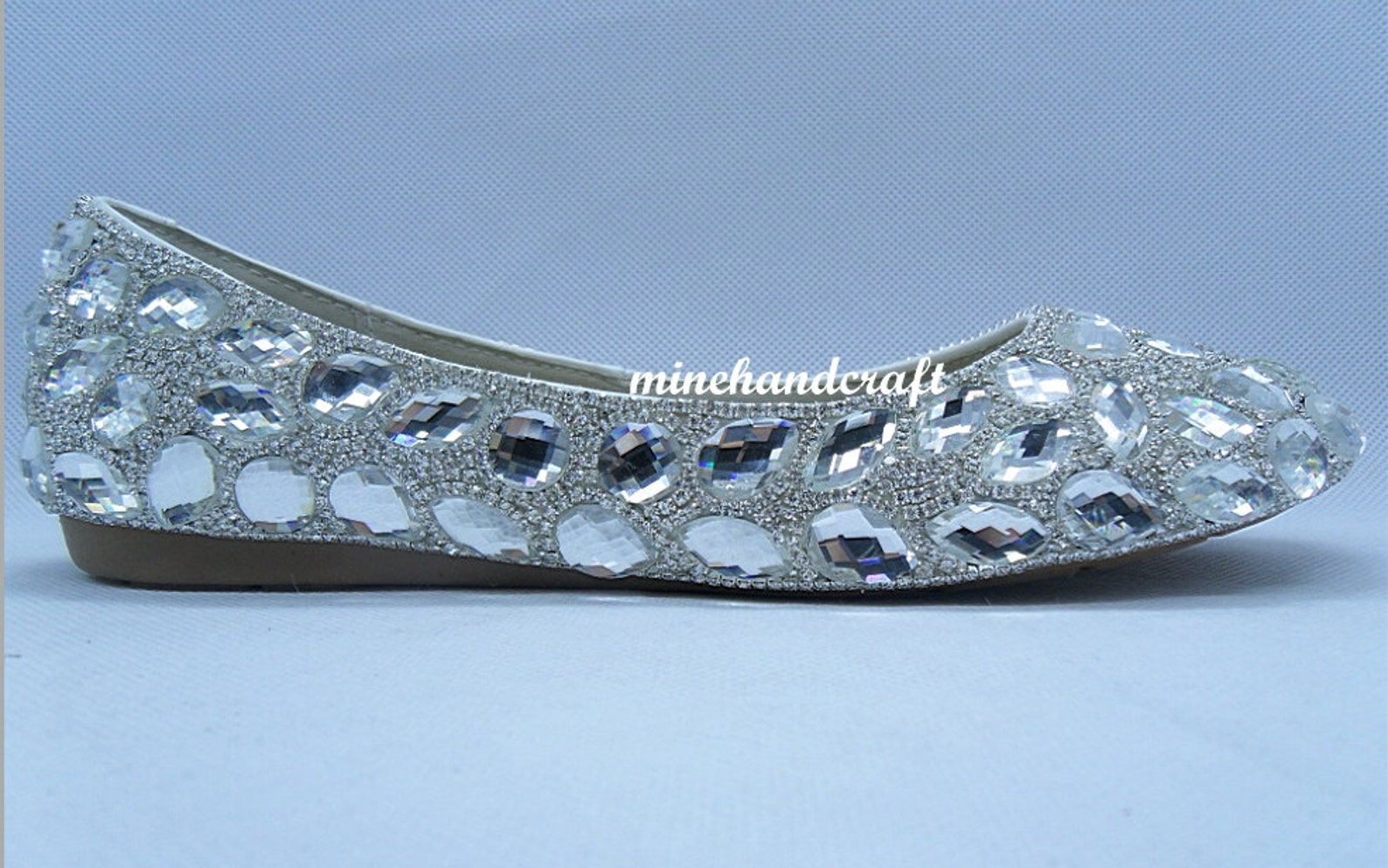 sparkle ballet flats shoes clean stones silver crystal glitter women slipers for bride wedding shoes