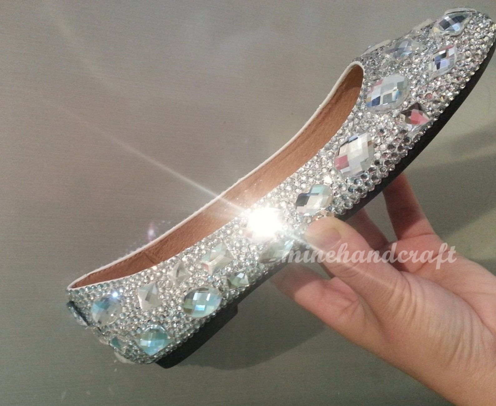 glitter crystal women shoes ballet flats slippers bling dance shoes clean rhinestone shoes handmade to order customize prom flat