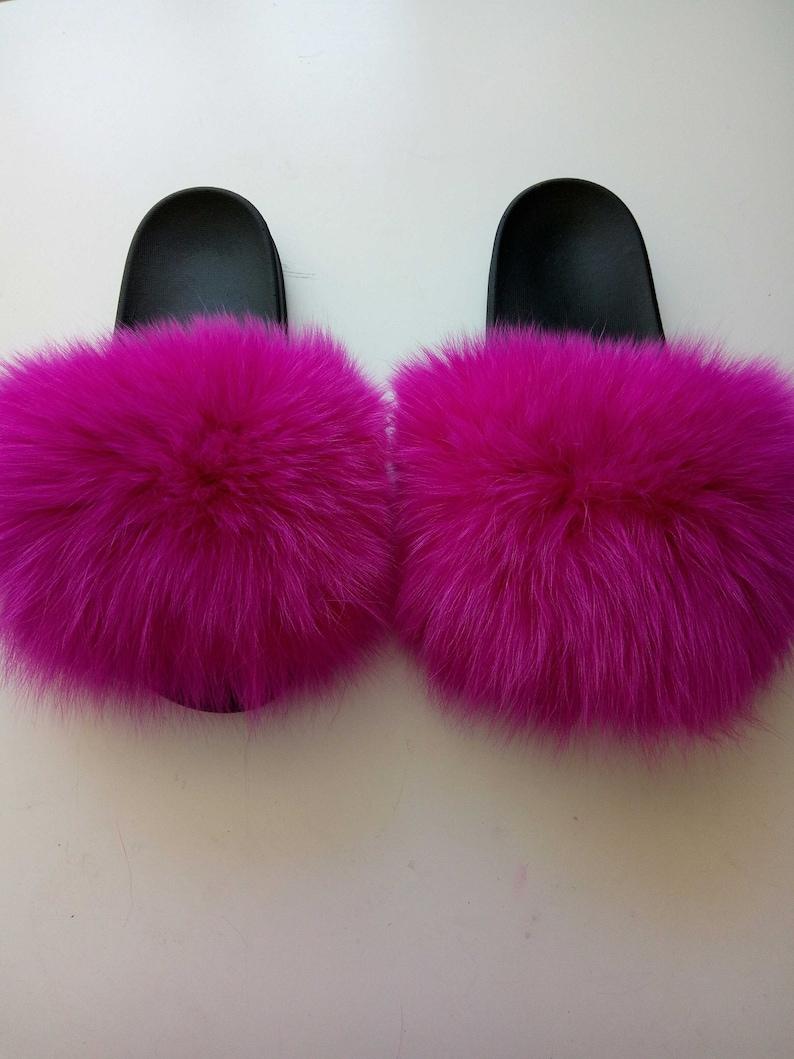 6054e5d342cc3 Instagram plush Sandals Hot Pink Fuchsia Poms Flip Flops Real