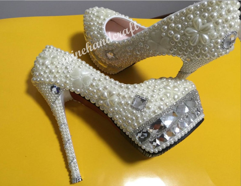 ddeff2c23b Luxury Heels Women Shoes Ivory Pearl Beads Clean Rhinestone Platform  Handmade Custom Closed Toe Prom Shoes Party Dance Evening Dress Shoes