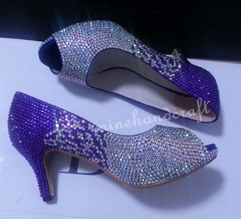 9eeb017f607b Purple Women Pumps High low Heels Violet Purple And AB Crystal