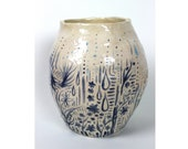 Blue Indigo Fern Vase - Ceramic Hand Built Pottery Vessel
