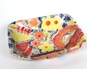 Small Colourful Floral Rounded Ceramic Jewellery Dish - Hand built Pottery Bowl