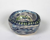 Small Stripe Pattern Green and Blue Ceramic Tea-light Holder - Hand built Pottery Candle Dish