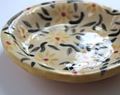 Small Ceramic Yellow and Black Floral Spot Jewellery Dish - Hand Built Patterned Pottery Plate