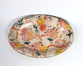 Ceramic Floral Contrast Oval Plate - Hand Built Patterned Pottery Dish