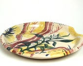 Ceramic Leaf Yellow Pink Plate - Hand Built Patterned Pottery Dish *SECOND*