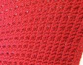Dark Red Hand Crochet Textured Blanket Afghan Baby Blanket