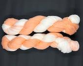 Hand Dyed Yarn | Orange and Cream Yarn | Organic Cotton Yarn | Worsted Weight & Machine Washable Yarn | approx. 100 grams per hank