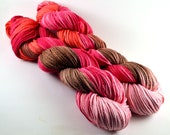 Hand Dyed Organic Cotton Yarn - Worsted weight - STRAWBERRIES & CHOCOLATE