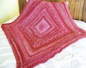 Raspberry Red Crochet Afghan Lap Blanket or Baby Blanket