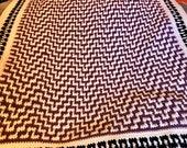 Handmade lap blanket Purple Black Baby Blanket Afghan