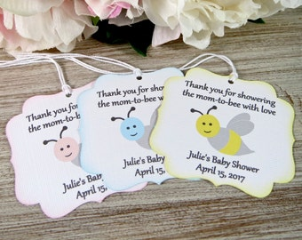 Mom to bee baby shower favor tags, Mommy to be favor label, Bride to be bridal shower favor tags, yellow baby shower thank you tag