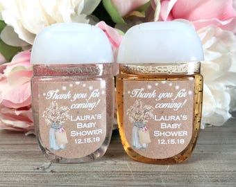 rustic bridal shower favor label rustic baby shower favor labels hand sanitizer label hand sanitizer favor label kraft sticker
