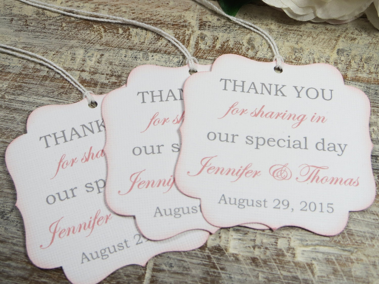 Wedding favor tags, Personalized thank you tags, pink wedding gift ...