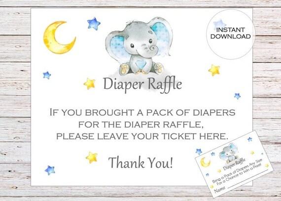 elephant diaper raffle ticket printable diaper raffle etsy