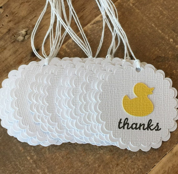Rubber Duck Baby Shower Thank You Tags Yellow Baby Shower Favor