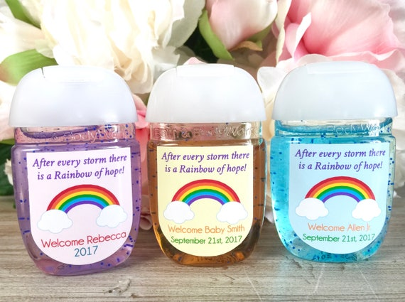Rainbow Baby Shower Favor Label Rainbow Party Favor Label Hand