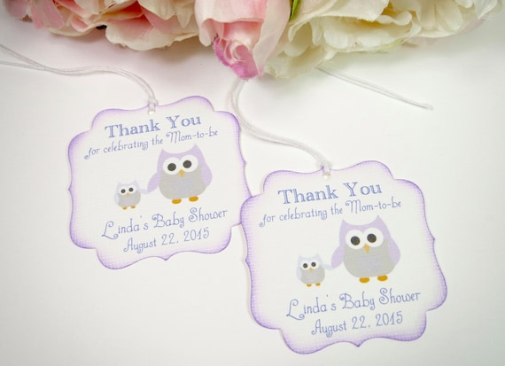 Owl Baby Shower Favor Tags Purple Baby Shower Tags Girl Baby Etsy