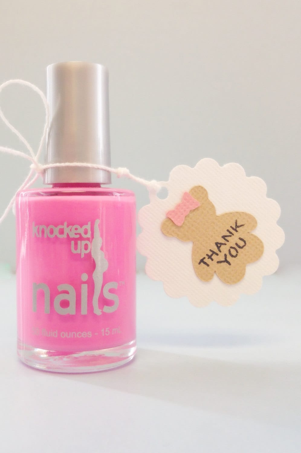 Nail polish favor tags Girl baby shower thank you tags teddy | Etsy