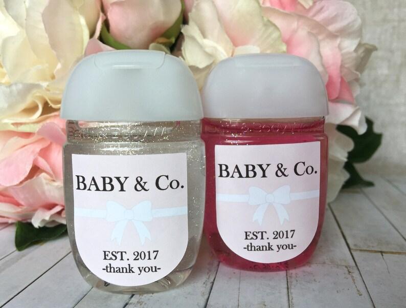 hand sanitizer favor label Baby and co baby shower favor label Pink baby shower Hand sanitizer labels bridal shower favor sticker