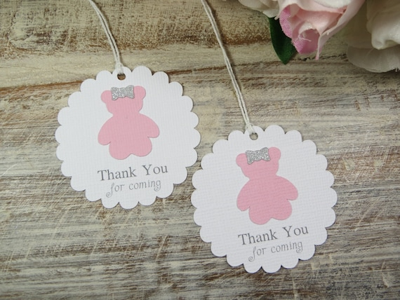 Pink Teddy Bear Baby Shower Favor Tags Tags For Baby Shower Etsy