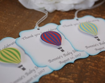 Hot air balloon baby shower favor tags, Up Up and away birthday party favor tags, Boy baby shower thank you tags, First birthday party boy