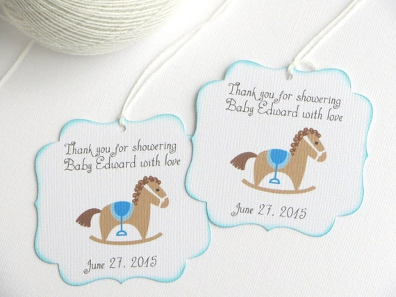 Baby Shower Favor Tags With Rocking Horse, Kids Party Favor Tags, Blue Baby  Shower Thank You Tags, Blue Birthday Party Favor Tags From WildSugarberries  On ...