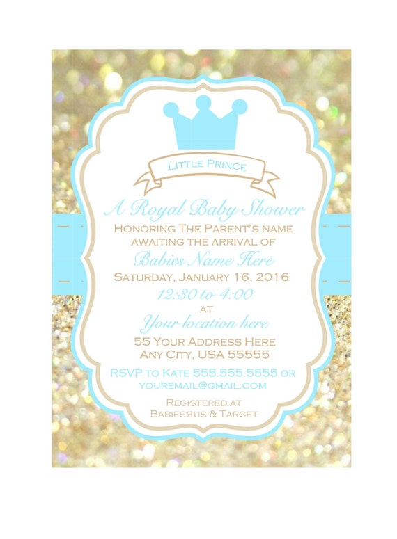 Little Prince Baby Shower Invitation Printable Baby Shower