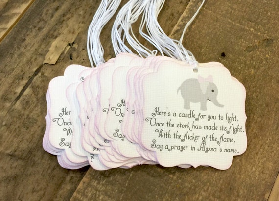 Elephant Baby Shower Favor Tags Girl Baby Shower Party Favor Etsy