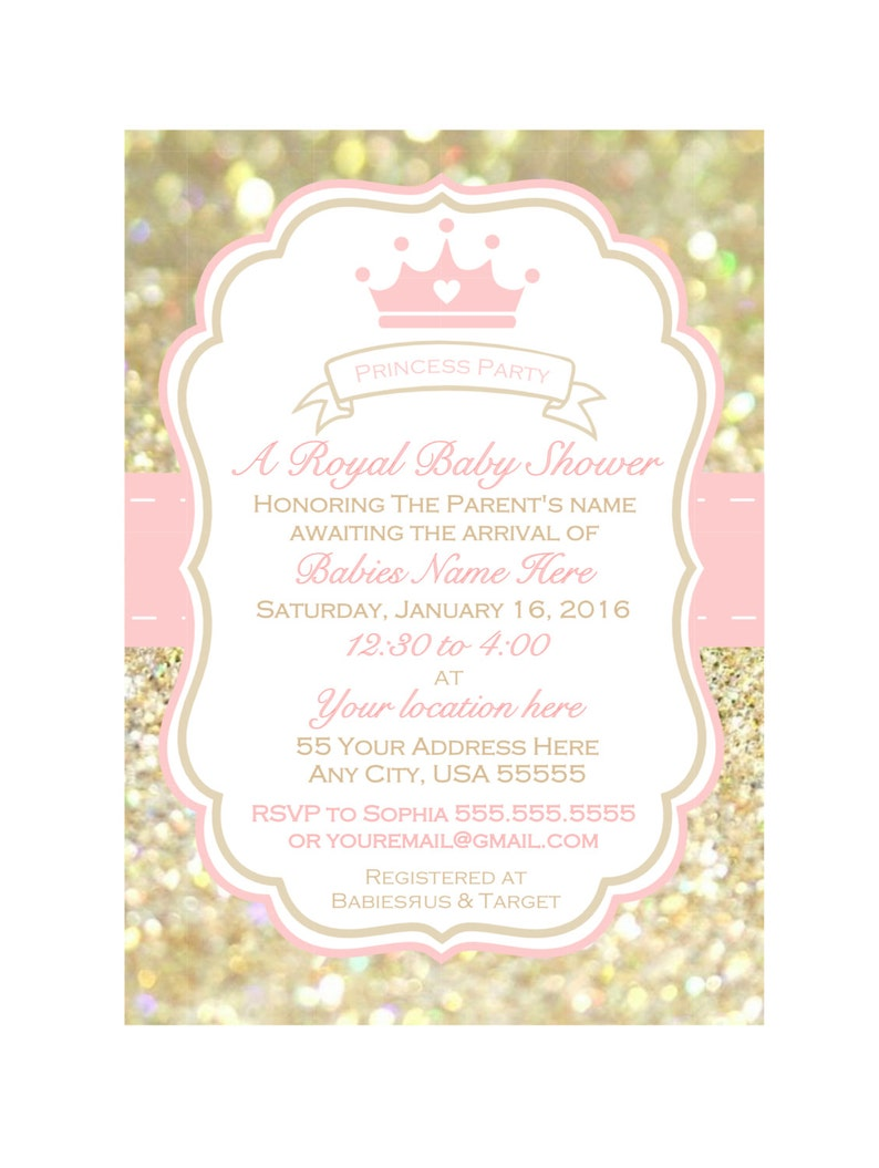 picture regarding Printable Girl Baby Shower Invitations titled Printable lady boy or girl shower Invitation, child shower invite, Crimson and Gold child shower invitation, Princess celebration invitation, Royal shower
