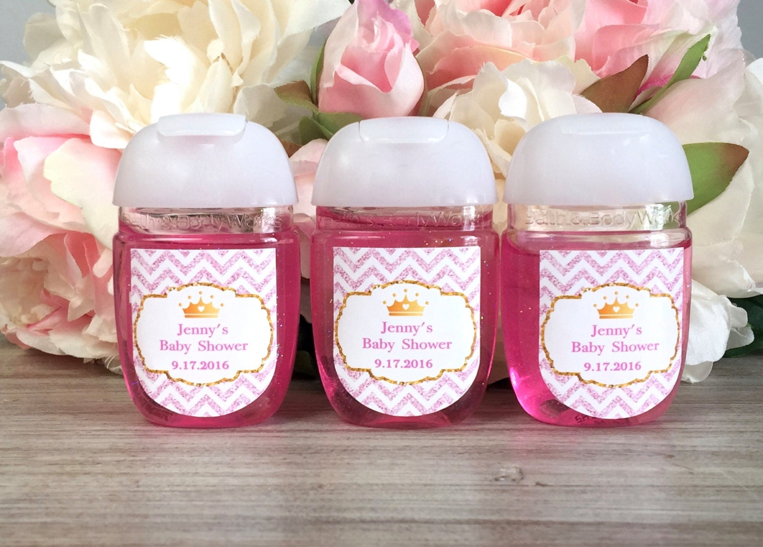 Princess party hand sanitizer label pink and gold hand   Etsy