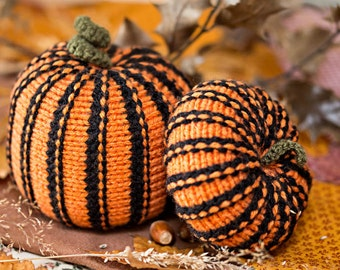 2 Knitted Pumpkins, Halloween ornament, Stripy Black and Orange pumpkin decorations, Spooky home decor, Fall Autumn Miniature knit pumpkin