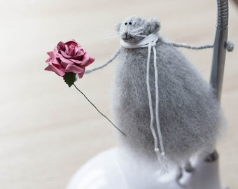 Gift for wife Valentine gift for her Knitted rat Anniversary gift Stuffed animal Art mouse doll Soft sculpture