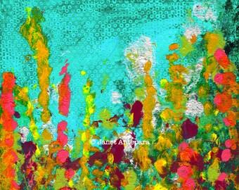 Green Garden Fine Art Print, Abstract Art, Modern Art, Floral Painting, Wild Flowers, Floral Art