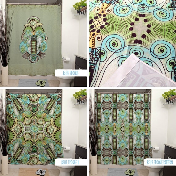 Belle Epoque Pattern Shower Curtains. Art Deco Bathroom