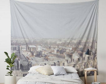 Paris Morning Rooftops Hanging Wall Tapestry. Home Decor, Dorm, Paris, French Decor, Paris Chimneys, Buildings, Paris Headboard Tapestry