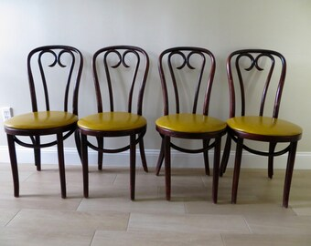 Vintage Bentwood Thonet Style Chair (3 Available)   Bistro Cafe Chairs    Dining Chairs   Vinyl Seats
