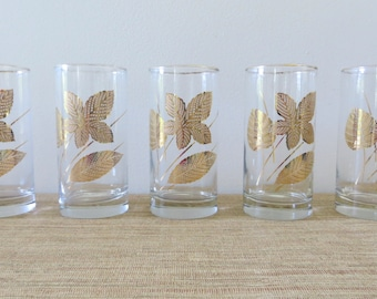 Vintage Libbey Gold Leaf Glasses - Set of 5